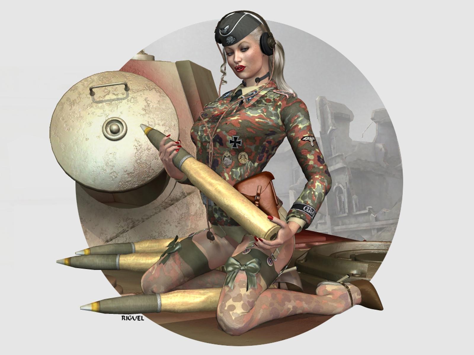 Рисованные девушки в военной 24 фотография