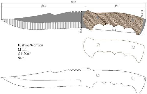 Деревянный нож чертежи